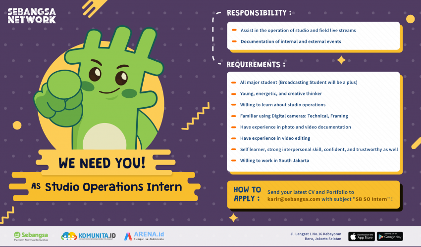 [Internship] – Studio Operations